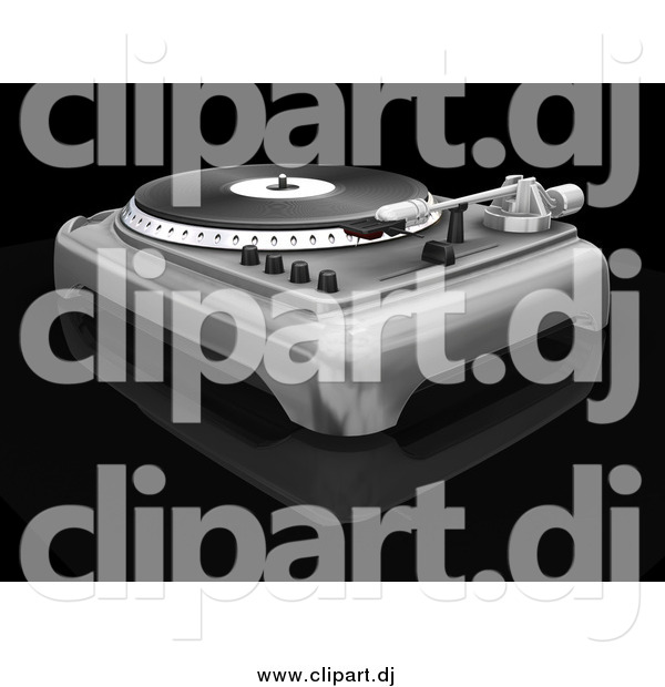 Clipart of a 3d Turntable with the Spinner, Needle and Knobs, on a Black Reflective Surface