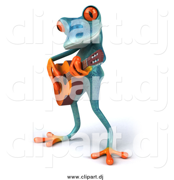 Clipart of a 3d Turquoise Frog Playing a Guitar