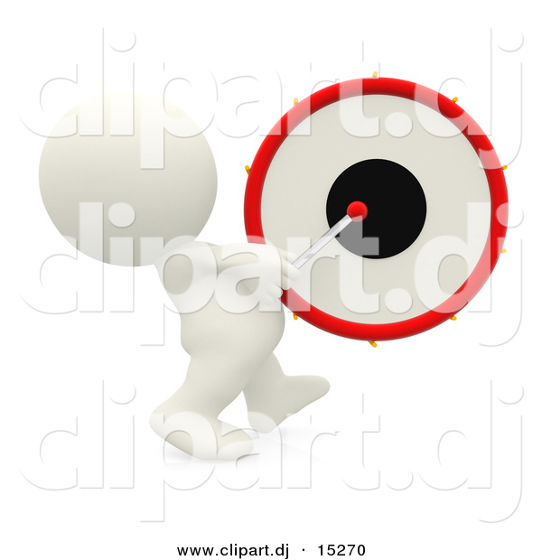 Clipart of a 3d White Guy Beating Drum While Marching Forward