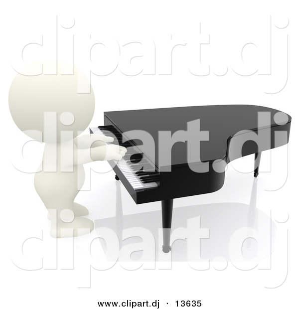 Clipart of a 3d White Guy Playing Piano