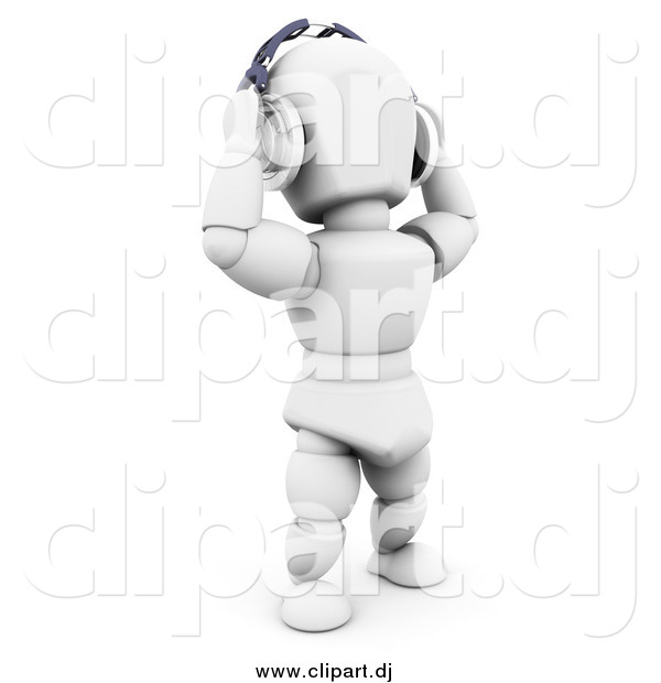 Clipart of a 3d White Man Holding Headphones on Top of His Head While Listening to Songs, over White