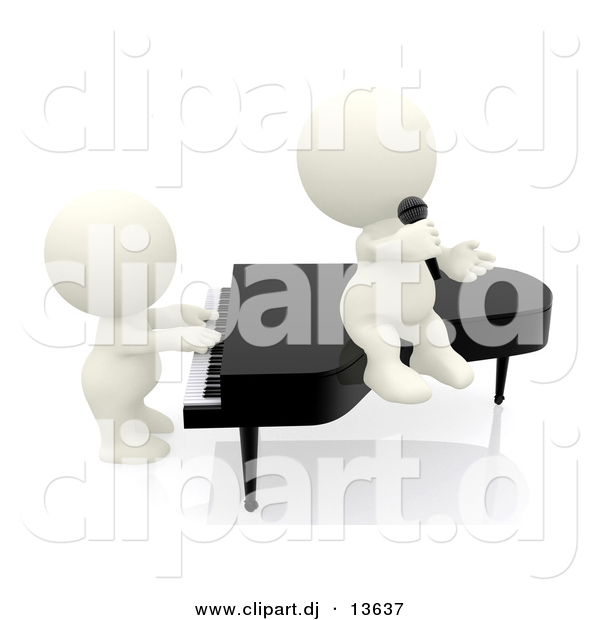 Clipart of a 3d White People Playing a Piano and Singing into Microphone