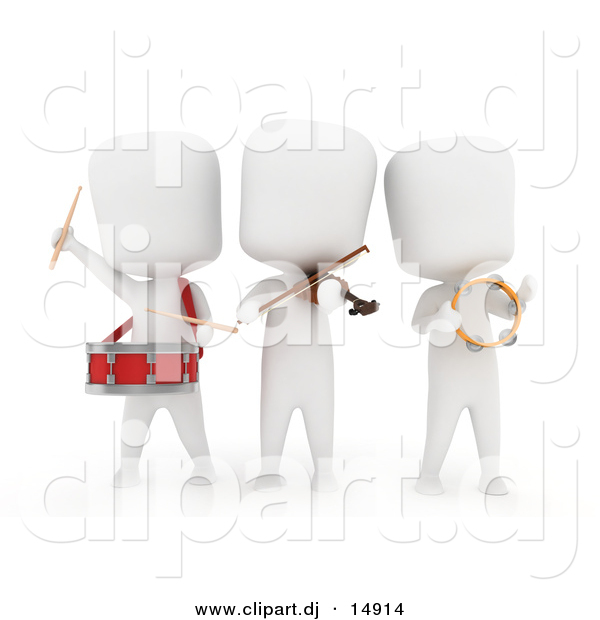 Clipart of a 3d White People Playing Music Instruments