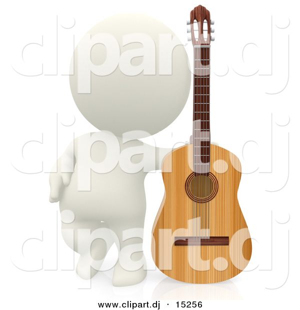 Clipart of a 3d White Person Beside His Wooden Acoustic Guitar
