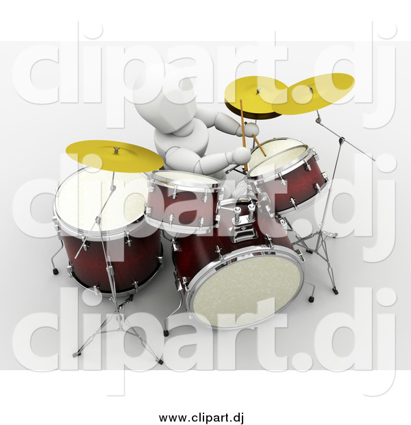 Clipart of a 3d White Person Drummer