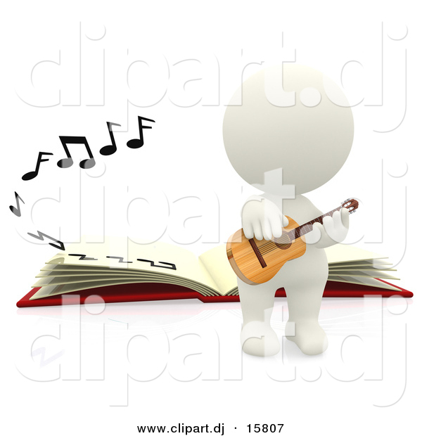 Clipart of a 3d White Person Playing Acoustic Guitar Beside a Book with Music Notes