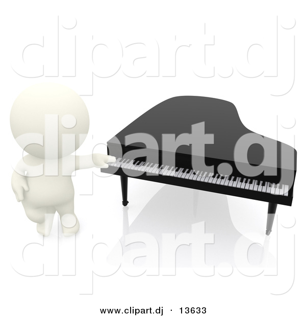 Clipart of a 3d White Person Standing Beside Piano