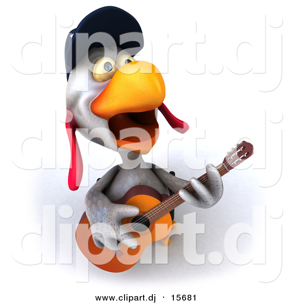 Clipart of a 3d White Police Chicken Playing a Guitar and Singing