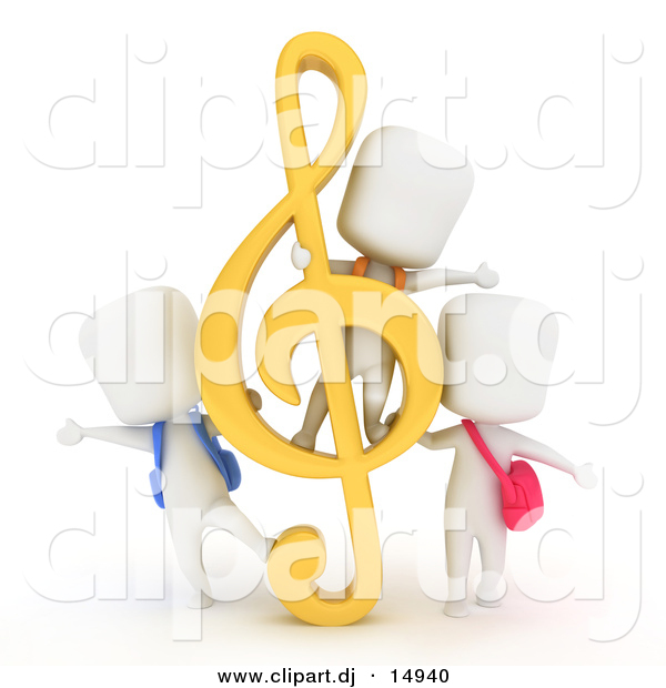 Clipart of a 3d White Students Playing with a G Clef Music Note