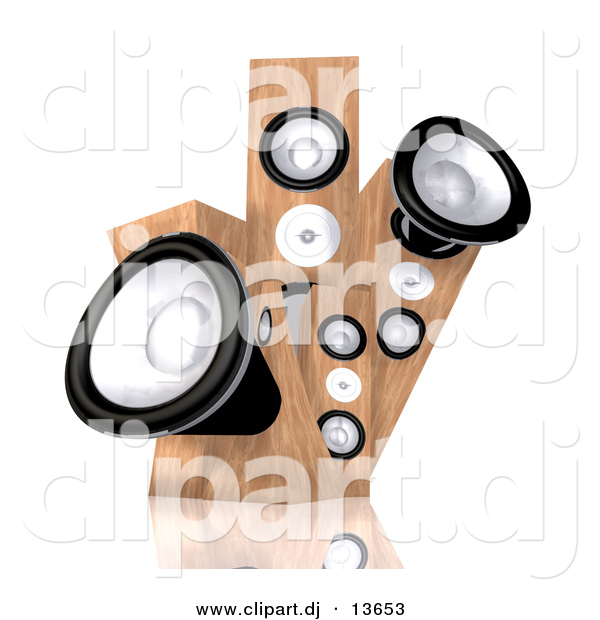 Clipart of a 3d Wood Speakers