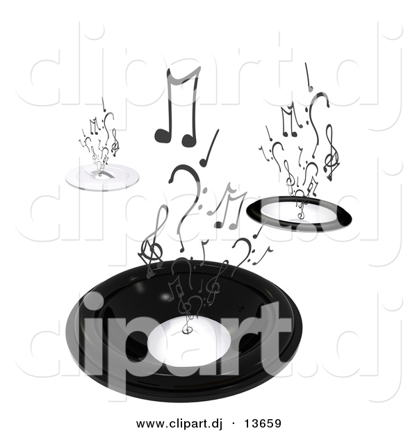 Clipart of a Abstract Black Speakers with Music Notes Rising up