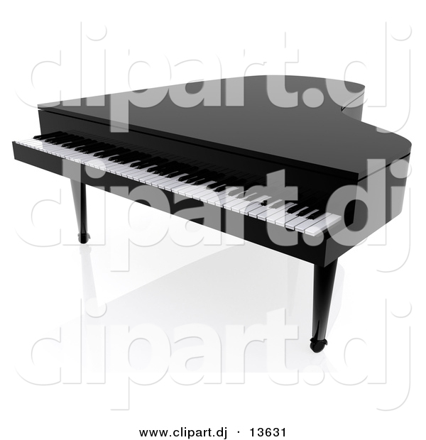 Clipart of a Black 3d Piano