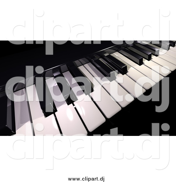 Clipart of a Black and White 3d Piano Keyboard