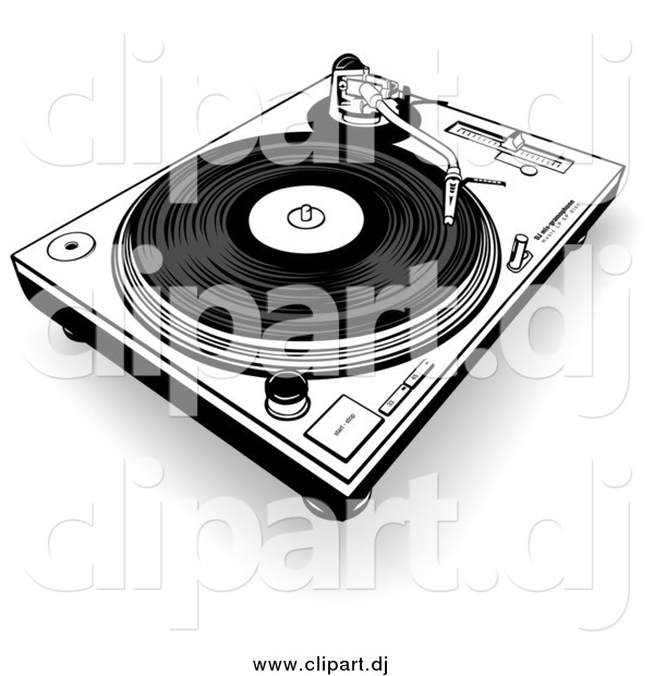 Clipart of a Black and White Record Player