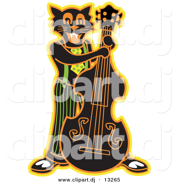 Clipart of a Black Cartoon Cat Playing a Bass Fiddle Instrument