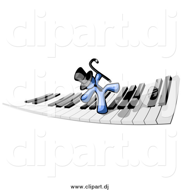 Clipart of a Blue Man Dancing on a Piano Keyboard