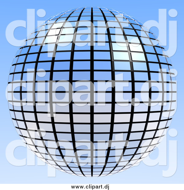 Clipart of a Blue Mirror Disco Ball on Blue