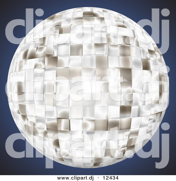 Clipart of a Bright Chrome Disco Ball over Dark Blue Background