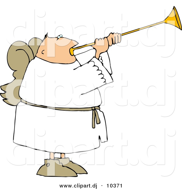 Clipart of a Cartoon Angel with Wings Playing a Horn