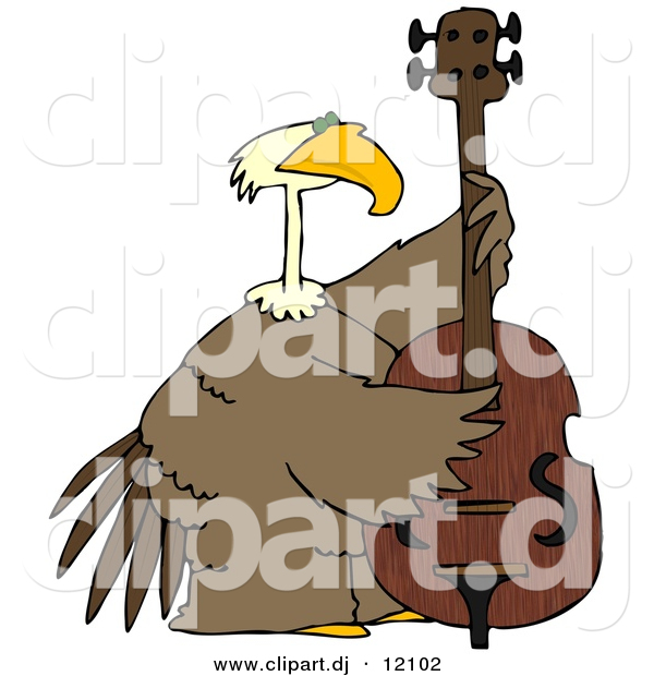 Clipart of a Cartoon Bald Eagle Playing Double Bass Instrument