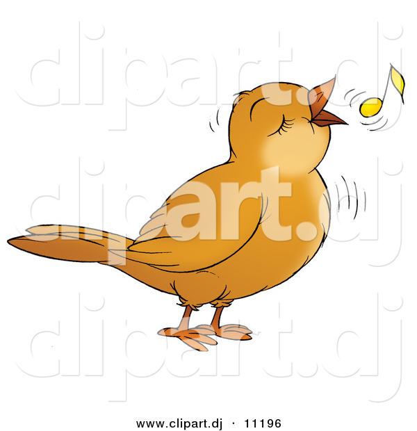 Clipart of a Cartoon Bird Singing with a Yellow Music Note