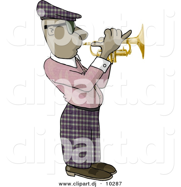 Clipart of a Cartoon Black Man Playing Trumpet
