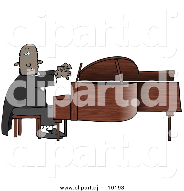 Clipart of a Cartoon Black Pianist Sitting on a Bench and Playing a Grand Piano