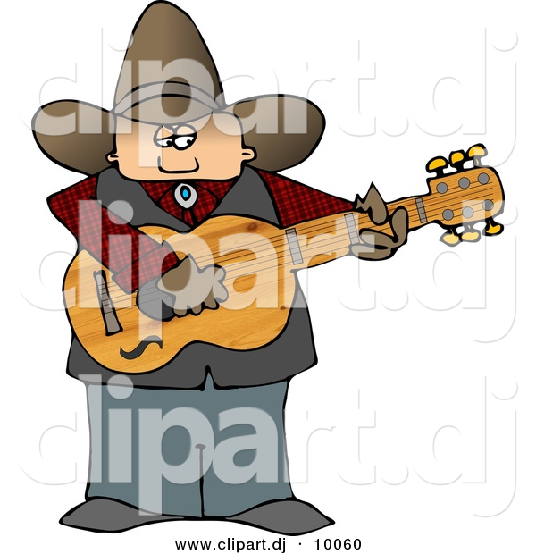 Clipart of a Cartoon Country Cowboy Playing a Guitar