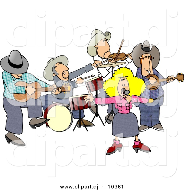 Clipart of a Cartoon Country Western Band Playing Music
