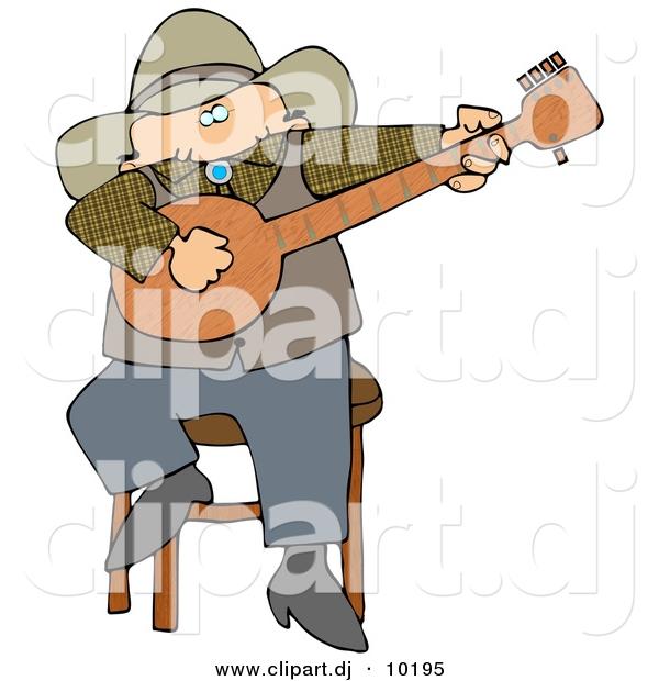Clipart of a Cartoon Cowboy Sitting on Stool and Playing a Banjo
