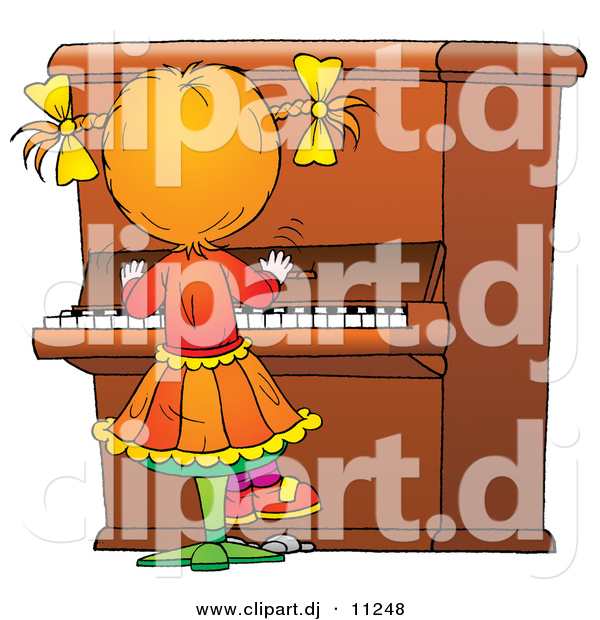 Clipart of a Cartoon Girl Playing Piano