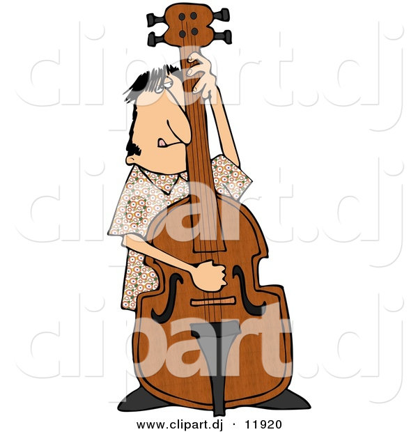 Clipart of a Cartoon Guy Playing His Bass