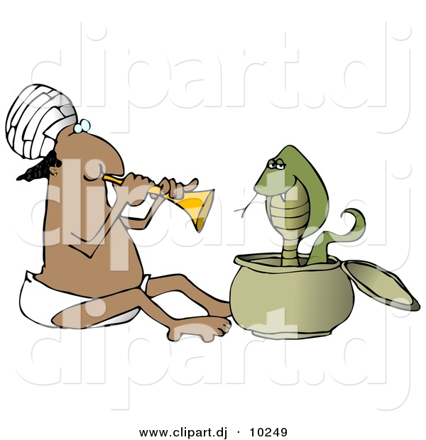 Clipart of a Cartoon Indian Man Charming Snake with Music