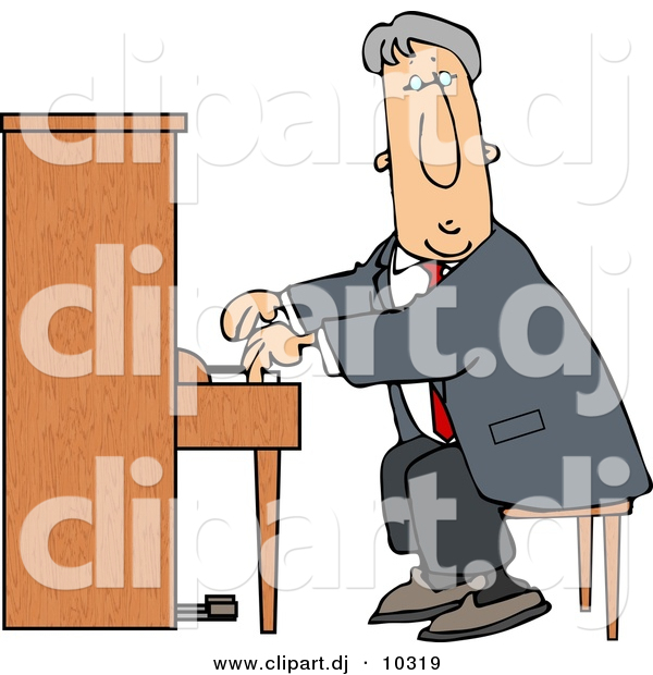 Clipart of a Cartoon Man Playing Piano