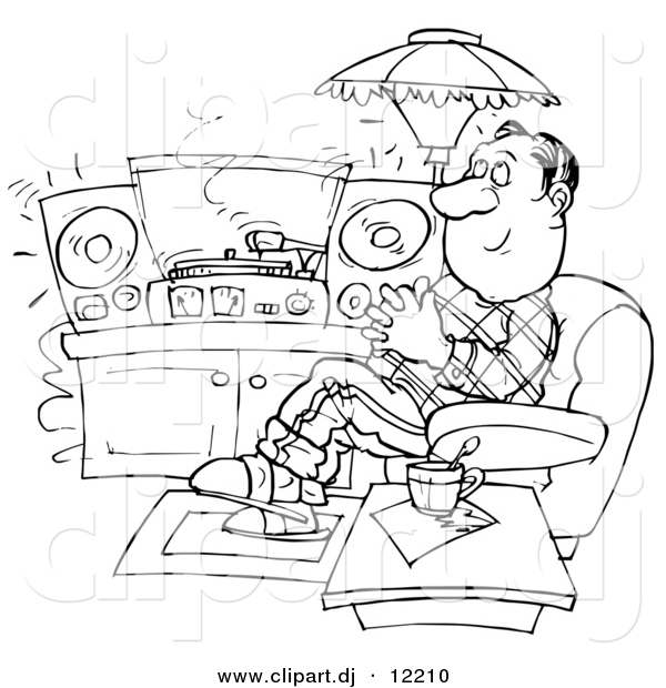 Clipart of a Cartoon Man Relaxing and Listening to Records in His Home - Outlined Coloring Page Art