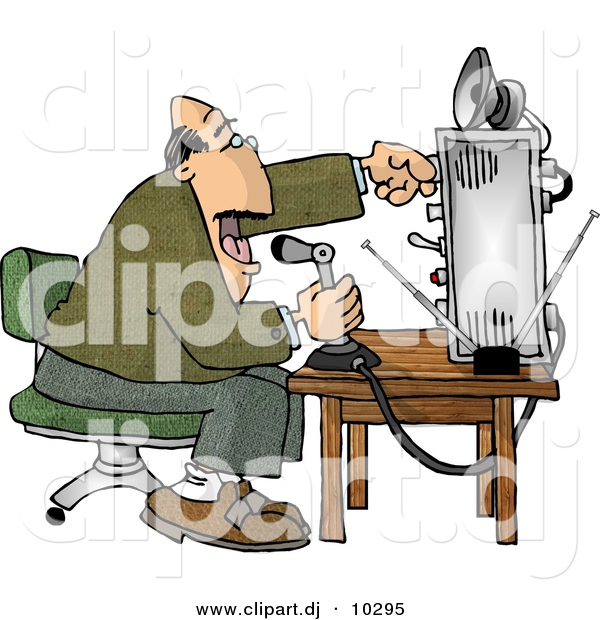 Clipart of a Cartoon Man Talking over Radio at an Old Broadcast Station
