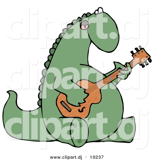 Clipart of a Cartoon Musical Dinosaur Singing While Playing Guitar