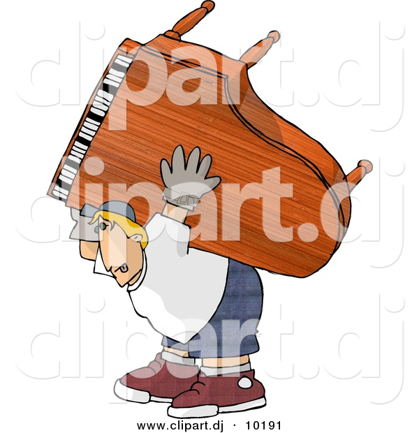 Clipart of a Cartoon Strong Man Moving Piano