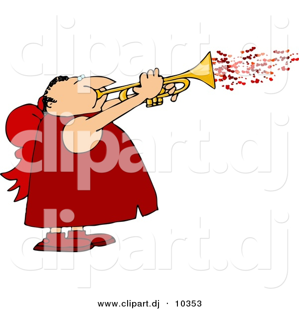 Clipart of a Cartoon Valentine Cupid Man Blowing Love Hearts out of a Trumpet
