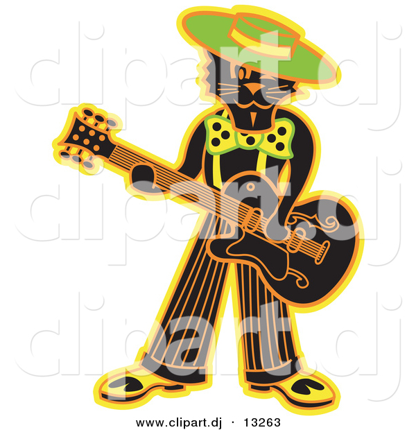 Clipart of a Cool Cartoon Black Cat Playing a Guitar