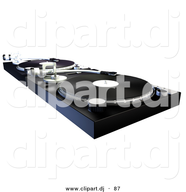 Clipart of a DJ Turntable with Vinyl Records