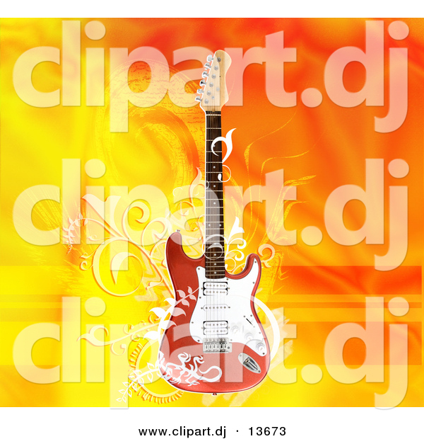 Clipart of a Electric Guitar over Flaming Orange Yellow Background