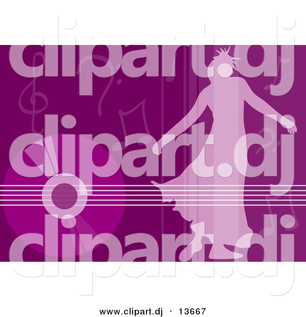 Clipart of a Girl Dancing over Purple Background with Vinyl Record and Music Notes