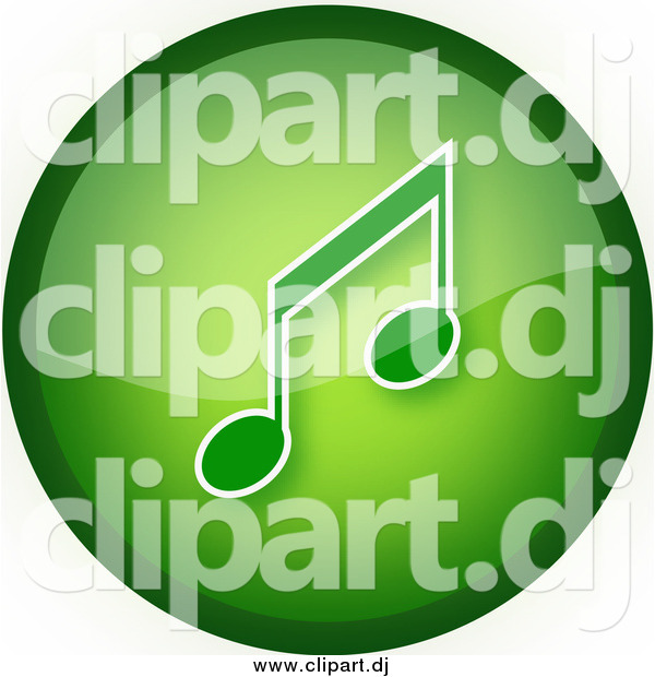 Clipart of a Green Music Button