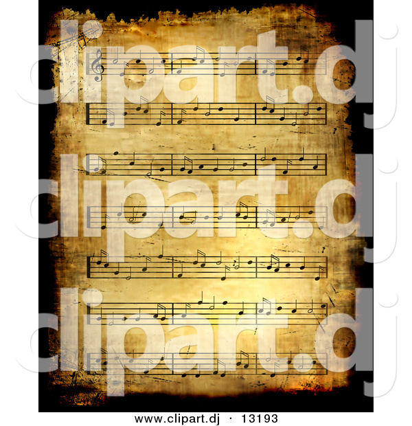 Clipart of a Grunge Sheet Music Background - Antique Version