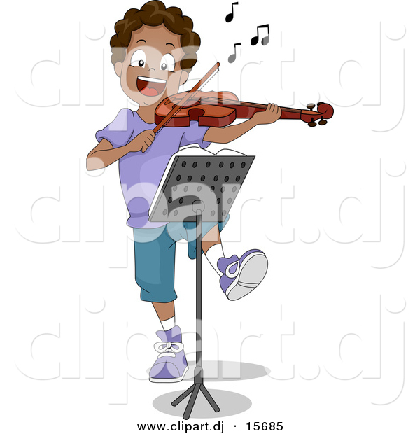 Clipart of a Happy Cartoon Black Boy Dancing While Playing a Violin