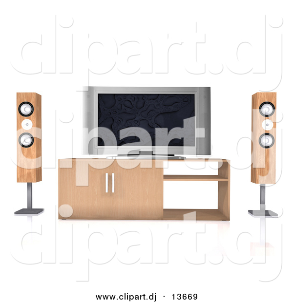 Clipart of a Home Theatre System with Wood Speaker Towers and a Widescreen Tv