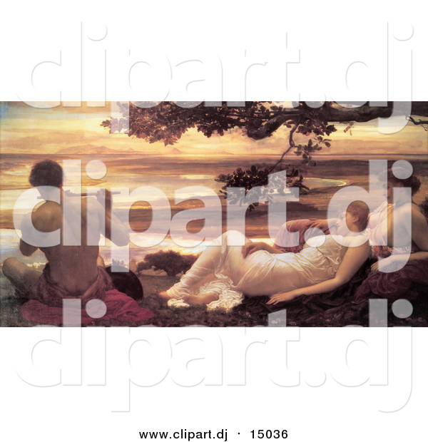 Clipart of a Painting of Ladies Watching a Man Playing a Flute, Idyll by Frederic Lord Leighton