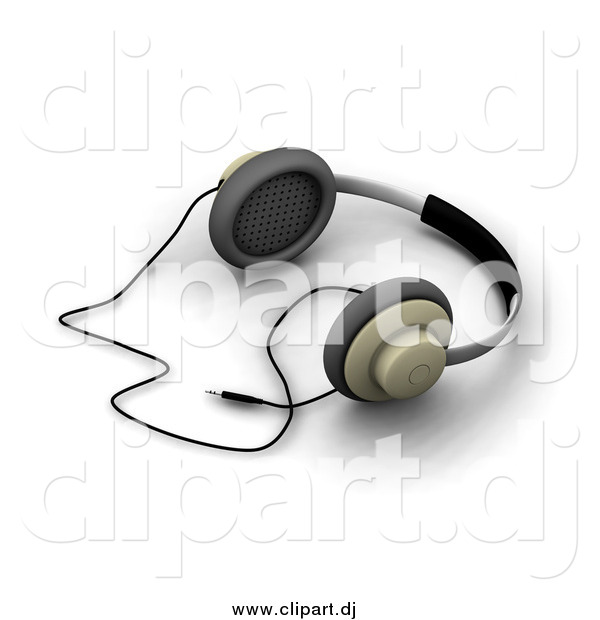 Clipart of a Pair of 3d Headphones Resting on a White Surface