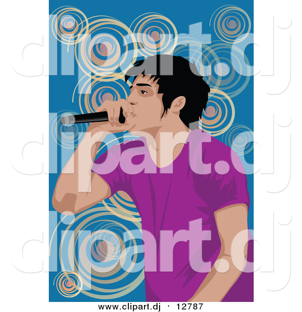 Clipart of a Performing Male Singer over Blue and Spirals